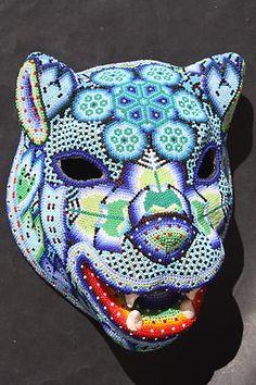 Huichol (Mexican) beaded jaguar mask