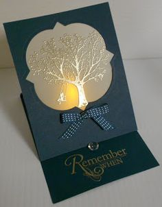 handmade card from BZ Stampin: Tea Light Card ... luv the gold embossed tree on the vellum window fill ... black card base ... easel card format ...
