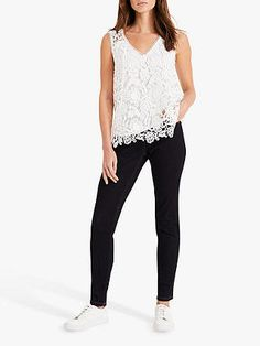 Phase Eight Aleah Lace Blouse, White at John Lewis & Partners White Lace Blouse, Embroidered Lace Fabric, Phase Eight, Neck Pattern, Wide Leg Trousers, Lace Sleeves, Warm Weather, John Lewis, How To Wear