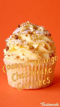 Coconut Mango Cheesecake Cupcakes ~ The Scran Line - - Coconut Mango Cheesecake Cupcakes ~ The Scran Line Cupcakes Creamy, fruity cupcakes sprinkled with crushed ginger cookies, YUM. Fruity Cupcakes, Gourmet Cupcakes, Yummy Cupcakes, Cupcake Recipes, Baking Recipes, Dessert Recipes, Coconut Cupcakes, Mini Cupcakes, Mocha Cupcakes
