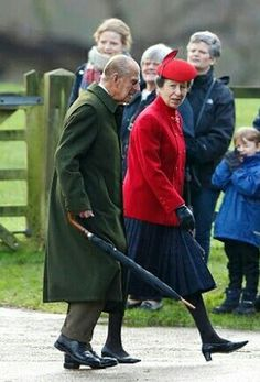 The Duke of Edinburgh & Anne, The Princess Royal At The Sunday Service At St. Mary Magdalene At Sandringham In King's Lynn, December 27, 2015.