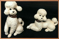Ceramic Poodles Dog Figurines Home Decor Vintage by MegsEndeavors