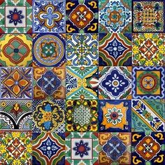Mexican talavera tiles - a type of earthenware pottery. Tiles are hand made and glazes contain tin and lead. Only six colours are allowed in talavera tiles; blue, yellow, black, green, orange and mauve. These colours are made from natural pigments. Tile Art, Mosaic Tiles, Tiling, Pool Tiles, Tile Patterns, Textures Patterns, Mexican Art, Mexican Tiles, Mexican Tile Kitchen