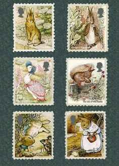 Timbres Illustrations de Beatrix Potter.