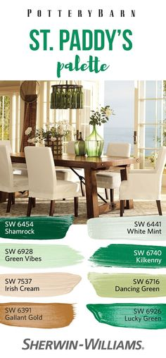 No luck needed. Whether on a wall, or in décor, it's easy to add a wee tad o' Irish charm to your home this St. Patrick's Day. Unleash your inner leprechaun, then raise a brush, bottle, vase (or more!) to the colors of the Emerald Isle. Balance vibrant greens like Shamrock SW 6454, Green Vibes SW 6928, Kilkenny SW 6740, Dancing Green SW 6716 and Lucky Green SW 6926 with earthy neutrals like White Mint SW 6441, Irish Cream SW 7537 and Gallant Gold SW 6391. Sláinte!