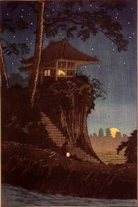 "Japanese Art Print ""Moonrise at Tokumochi"" by Takahashi Shotei, woodblock print reproduction, asian Japan Illustration, Vintage Illustration Art, Botanical Illustration, Japanese Artwork, Japanese Painting, Japanese Prints, Chinese Painting, Chinese Art, Art Du Monde"
