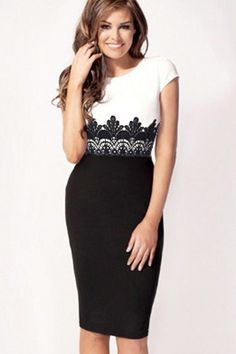 Cap Sleeves Embroidered Lace Bodycon Dress This one is my style all the way! Beauty And Fashion, Womens Fashion, Ladies Fashion, Girl Fashion, Pretty Dresses, Beautiful Dresses, Gorgeous Dress, Vestidos Plus Size, Colorblock Dress