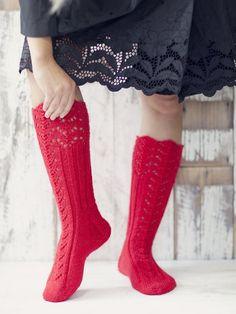 Novita wool socks, Womans long lace socks made with Novita 7 Brothers yarn - Super knitting Lace Socks, Wool Socks, My Socks, Lace Knitting, Knitting Socks, Knitting Patterns, Knit Crochet, Knitting Videos, Knitting Accessories