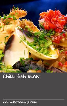 Chilli fish stew | This is a really easy and brilliant fish stew that's perfect for any occasion from a quick supper to a party or even Christmas if you aren't into a traditional roast. Add lobster or prawns to make it feel more celebratory, or use cheaper fish and mussels for a more frugal recipe. The chilli lifts the whole dish and makes it a really exciting thing to eat. I love having the background warmth of dried chilli and the kick of fresh chilli oil. Easy Prawn Recipes, Fresh Fish Recipes, Chilli Recipes, Tasty Dishes, Food Dishes, Dishes Recipes, Meal Recipes, Lobster Recipes, Lobster Meal