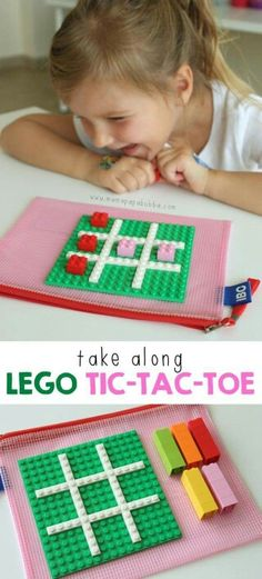 Take Along LEGO Tic-Tac-Toe - Mama. Take Along LEGO Tic-Tac-Toe. Such a fun idea for airplanes and carrides. An easy, portable activity for play on-the-go. Take along LEGO tic-tac-toe! Lego Duplo, Lego Ninjago, Lego Club, Toddler Activities, Activities For Kids, Crafts For Kids, Diy Crafts, Airplane Activities, Airplane Games For Kids
