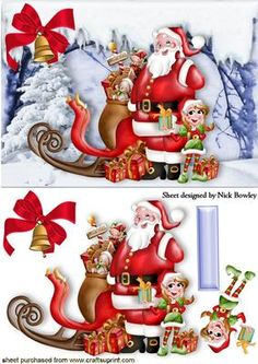 SANTA WITH HIS LITTLE ELF AND TOYS IN THE SNOW on Craftsuprint - Add To Basket!