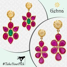 Which one of these two light weight earrings would you pick? Tell us in the comments. ‪#‎TakeYourPick‬ ‪#‎Gehna‬ ‪#‎Chennai‬