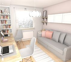 home office ideas grey Guest Bedroom Home Office, Cozy Home Office, Home Office Setup, Home Office Space, Home Office Design, Bedroom Office Combo, Spare Bedroom Study Ideas, Office With Couch, Spare Room