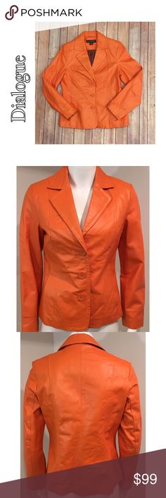 "Dialogue XS Orange Leather Lined Jacket Dialogue XS Orange Leather Lined 70's Look Jacket Coat Peacoat   ▫️Coat does have wear. The leather isn't perfect- shows slight signs of wear all over.  ▫️Highlighted in photos are the biggest areas of wear. Sleeves were likely rolled up, which caused wear. Also, a pin on one side of the collar, which left holes in the leather -in photos.   ▫️Bust 18.5"" ▫️Shoulder to shoulder 15.25"" ▫️Sleeve length 23.5"" ▫️Center back of jacket - bottom 25.5""  🛍For…"