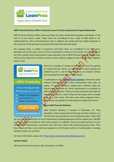 AMS Financial Solutions Offers #Unsecured_Loans_for_Home_Improvement Projects Nationwide
