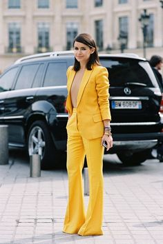 Miroslava Duma in a two-piece yellow suit #StreetStyle