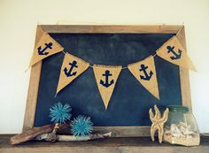 Anchor Banner Nautical TriangleBurlap Flag Pennant Bunting Beach Party Sign on Etsy, $25.00