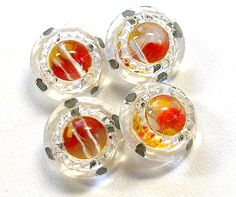 1940s RED & YELLOW glass buttons