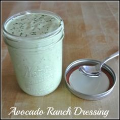 Creamy Avocado Ranch Dressing  1 avocado, roughly chopped 1/2 cup Greek yogurt 2 TBSP vinegar 2 tsp. olive oil 4 tsp. lemon juice 1/2 cup fresh chives, coarsely chopped 1/4 cup fresh parsley 4 cloves garlic, minced 1 tsp onion powder 1 tsp sea salt 1/2 tsp pepper 1 cup buttermilk