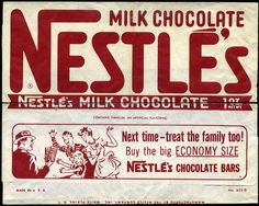 This wrapper for Nestle's plain milk chocolate bar also features an illustration on the back, though this time for a candy-crazed family, and their chocolate provider, Dad. Vintage Sweets, Vintage Candy, Retro Sweets, Nestle Chocolate, Chocolate Shop, 1950s Candy, Candy Packaging, Candy Bar Wrappers, Old Signs