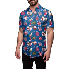 Chicago Cubs Christmas Explosion Button Up Shirt by FOCO 114b69bb3