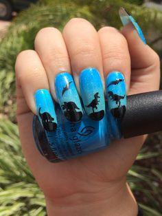 Dinosaur nails by @pandapandoranails