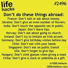 What to do in different countries (probably never going to use)