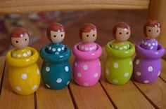 Wooden Montessori Peg Doll Matching Game