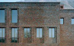 Like the masonry detail around the windows  Club House in Schaanwald by BrunhartBrunnerKranz Architekten