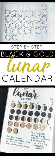Learn how to Draw a Beautiful and Easy Lunar Calendar in Your Bullet Journal with only a few basic supplies