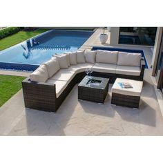 Barcelona 5 Seater Sectional Sofa Set with Ice Bucket Garden Furniture, Outdoor Furniture, Outdoor Decor, Rattan Corner Sofa Set, Dcor Design, Sectional Sofa, Great Deals, Barcelona, Bucket