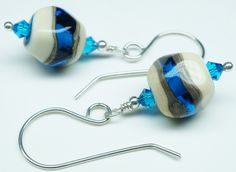 Clear Blue and Off White and Gray Earrings with Swarovski Crystals and Sterling Silver Earring Wires Sapphire Blue by CravingSilver on Etsy