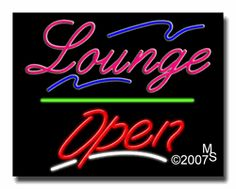 """Lounge Open Neon Sign - Script Text - 24""""x31""""-ANS1500-2588-3g  31"""" Wide x 24"""" Tall x 3"""" Deep  Sign is mounted on an unbreakable black or clear Lexan backing  Top and bottom protective sides  110 volt U.L. listed transformer fits into a standard outlet  Hanging hardware & chain included  6' Power cord with standard transformer  Includes 2nd transformer for independent OPEN section control  For indoor use only  1 Year Warranty on electrical components."""
