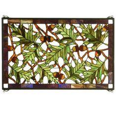 Acorn & Oak Leaf Stained Glass Window