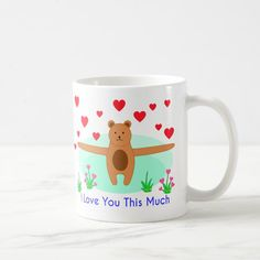 I Love You This Much Mug | Zazzle.com Valentine Day Love, Valentines, Love You So Much, My Love, Business Supplies, Party Hats, Boyfriend Gifts, Cool Gifts, Gifts For Him