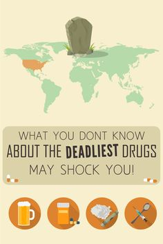 In this infographic, we take a look into the most dangerous drugs in the world, some of which are also the most addictive drugs you can find. Health And Wellness, Health Tips, Mental Health, Brain Diseases, Addiction Recovery, School Resources, Health Facts, Self Help