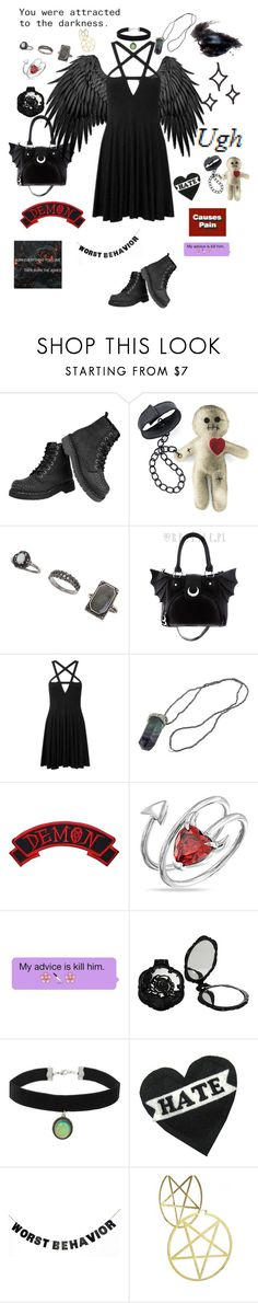 """""""Half Demon"""" by myintrovertedself ❤ liked on Polyvore featuring T.U.K., Miss Selfridge, Killstar, Bling Jewelry, Anna Sui, Topshop and WALL"""