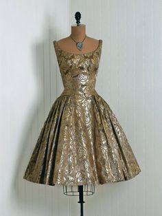 Party Dress, Emma Domb, California: 1950's, metallic floral print silk lamé, pleated-sides circle skirt.