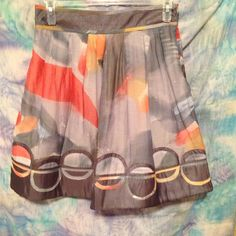 """Sugar Lips Skirt Gorgeous palate of watercolor grays and light oranges.   Circle detail near bottom.  Silk and cotton blend.  21"""" long . Fully lined. Side zip.  New without tags. Never worn. Sugar Lips Skirts"""