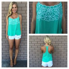 Flirty Floral Embroidered Top - MINT from Dainty Hooligan