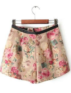 Khaki Contrast Leather Floral Skirt Shorts US$27.33