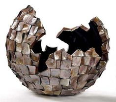 "by Daryl Stokes,""Egg Vase"" MOP Brown- Large, iconic abstract redwood sculptures. Stohans Showcase."