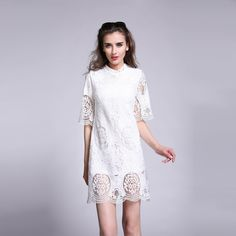#Floralcrochetlace and simple straight silhouette make this #soliddress an enviably glamorous choice for evening party. Next time I must dress like her when i go to the party.