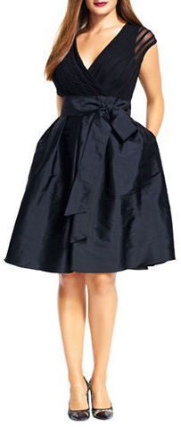 Plus Size Taffeta and Jersey Fit and Flare Dress