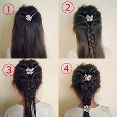 昨日の娘ヘアアレンジのやり方です。 ①上の方だけブロック分けして、ひとつに結んでくるりんぱします。 ②耳の上あたりからブロック分けして、①の髪と一緒に結んでくるりんぱして三編みします。 ③残りの髪をふたつに分けて三編みします。 ④三編みした三本を使って、さらに三編みして出来上がり。 #今朝の娘ヘアアレンジ#子供のヘアアレンジ#子供ヘアアレンジ#ヘアアレンジ#年長#5才#三編み#みつあみ#くるりんぱ#まとめ髪#hairarrange #kidshairstyles #kidshairarrange #ママ#ママモデル#mama#mamamodel