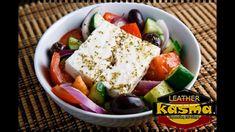 Greek Salad (Horiatiki Salata) Recipe : A Greek salad with tomatoes, cucumber, onion, olives, feta and Greek dressing. Greek Recipes, Wine Recipes, Cooking Recipes, Healthy Recipes, Gf Recipes, Healthy Salads, Easy Recipes, Greek Salad, Wine