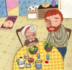 Digital print of an illustration made with acrylics for a children book. Having dinner with my friend the giant. by LaCasuni on etsy