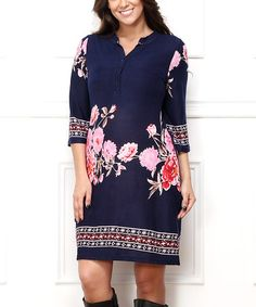 Another great find on #zulily! Navy & Pink Floral Shirt Dress - Plus #zulilyfinds