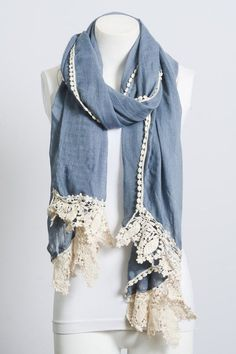 On trend peasant style scarf! Perfect for Spring and Summer! Pair with shorts and a tee or your favorite maxi dress to add this peasant style trend to your closet! One size.