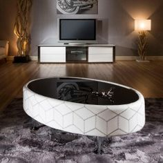 Modern Cool Designer Large Oval Coffee Table Leather/Glass Chrome Legs